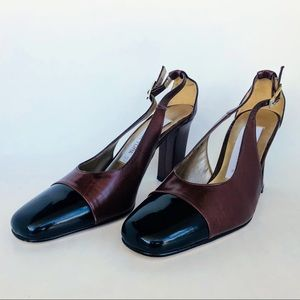 838263e324273 Jones New York Black/Brown Rich Leather Heels.